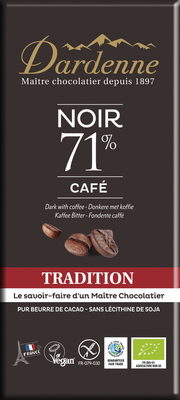 Tablette chocolat noir 71% tradition café 70g